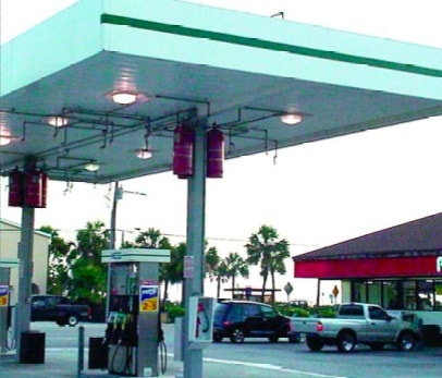 Hanging Cylinders Of A Fire Suppression System Above Gas Pumps